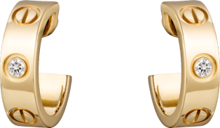 <span class='lovefont'>A </span> earrings, 2 diamonds Yellow gold, diamonds