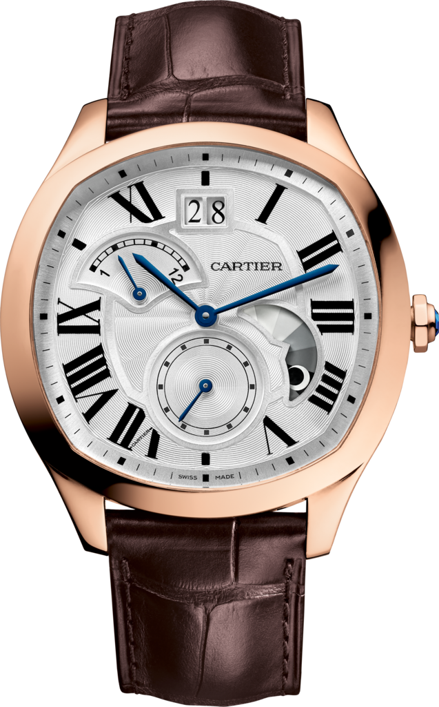 Drive de Cartier watch, Large Date, Retrograde Second Time Zone and Day Night IndicatorPink gold, leather