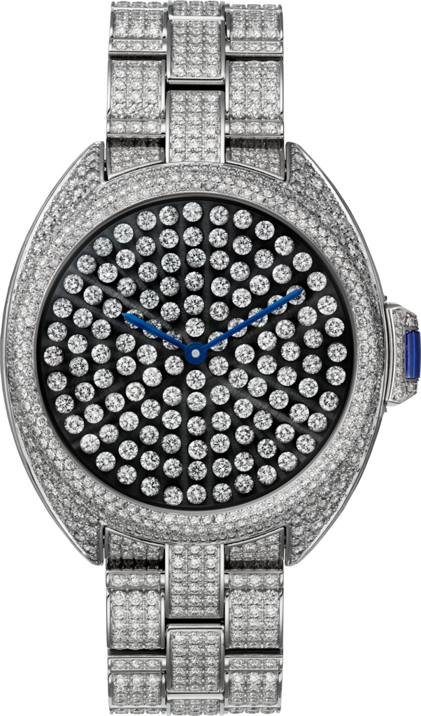 Clé de Cartier watch40 mm, rhodium-finish 18K white gold, diamonds