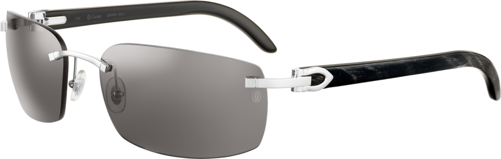 C Décor sunglassesMarbled black buffalo horn, smooth platinum finish, gray lenses