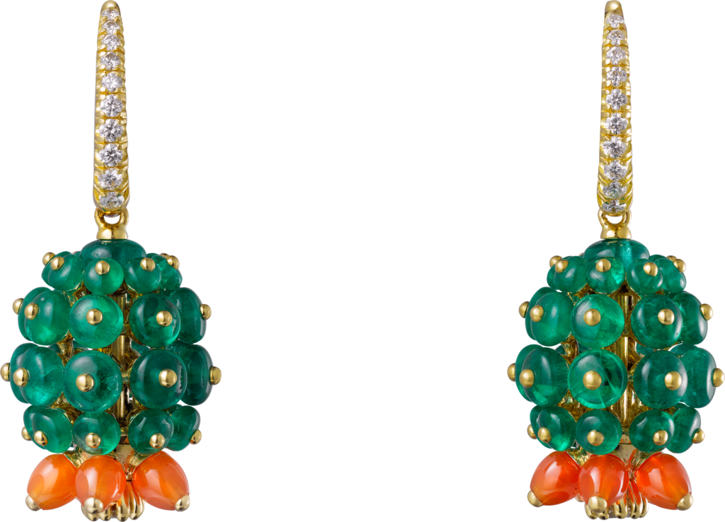Cactus de Cartier earringsYellow gold, emeralds, carnelians, diamonds
