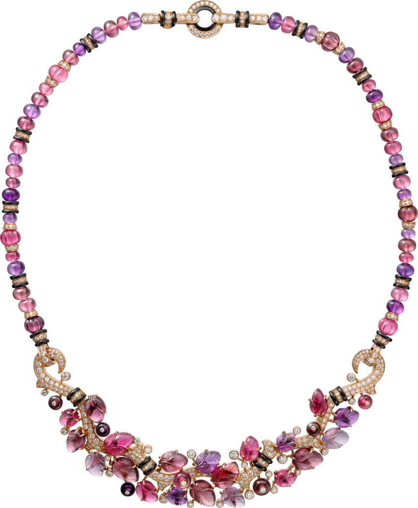 Necklace with engraved stonesPink gold, rubellites, amethysts, garnets, onyx, diamonds