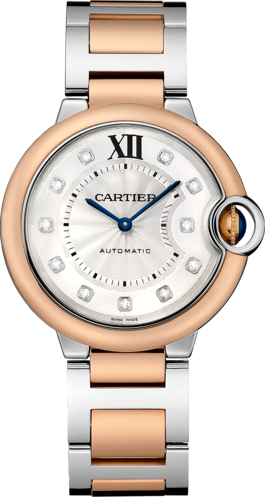 Ballon Bleu de Cartier watch36 mm, 18K pink gold and steel, diamond