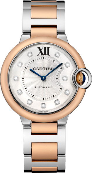 Ballon Bleu de Cartier watch 36 mm, 18K pink gold and steel, diamond