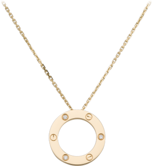 Love necklace, 3 diamonds Yellow gold, diamonds