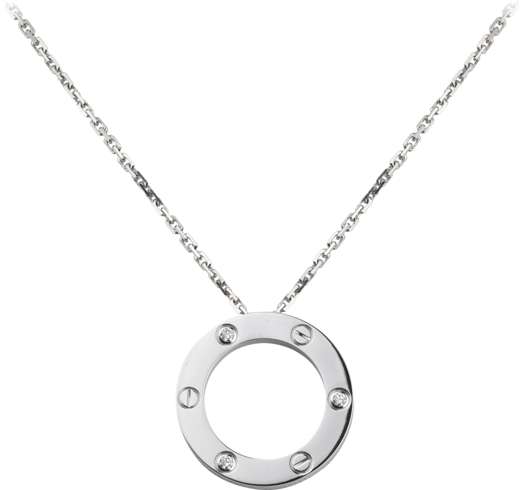 Love necklace, 3 diamondsWhite gold, diamonds