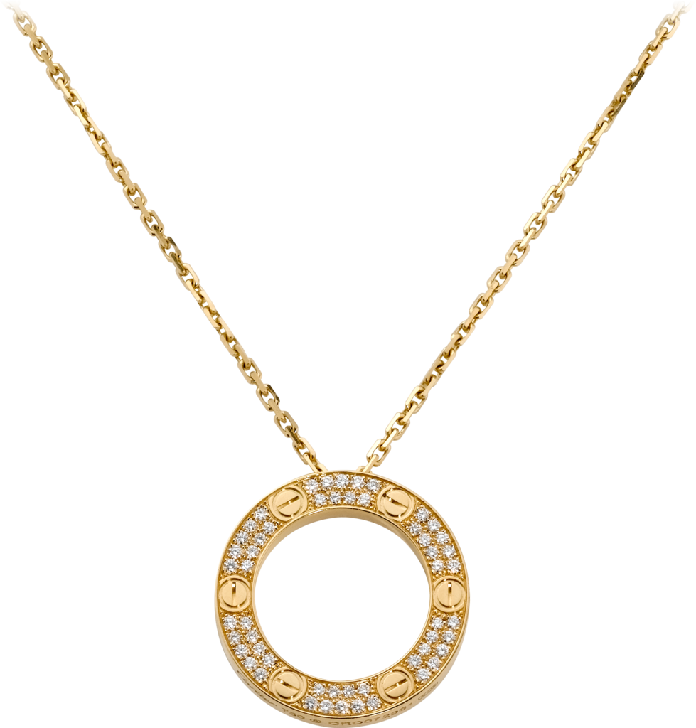 Love necklace, diamond-pavedYellow gold, diamonds