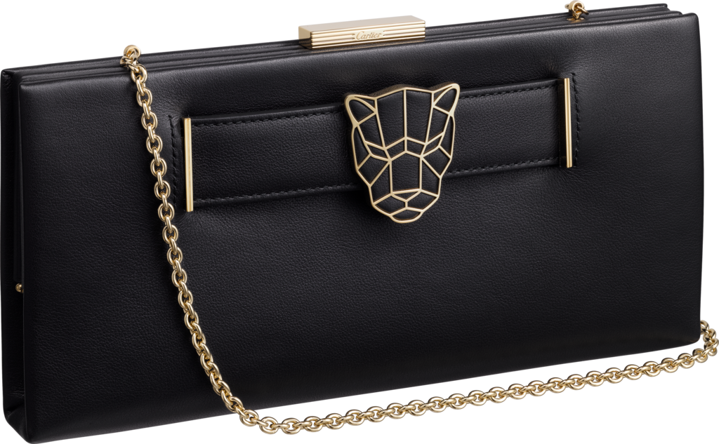 Panthère de Cartier clutch bagBlack calfskin, golden finish