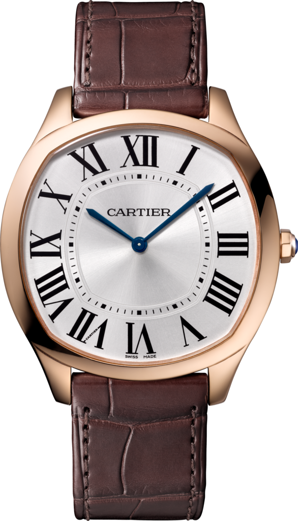 Drive de Cartier Extra-Flat watchPink gold, leather