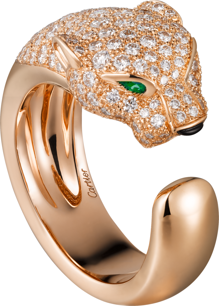 Panthère de Cartier ringRose gold, diamonds, emeralds, onyx