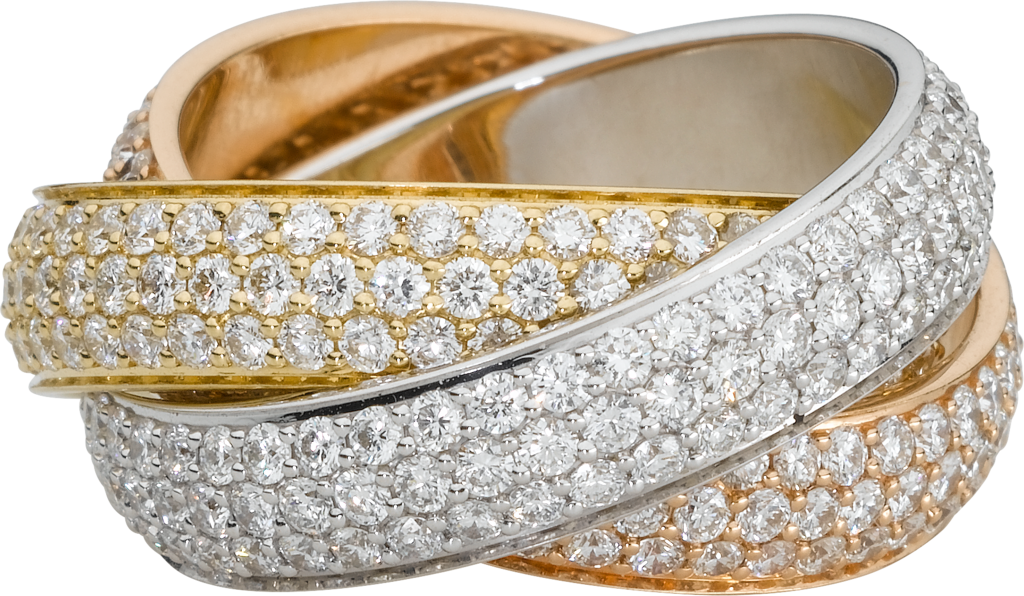 Trinity ring, LMWhite gold, yellow gold, rose gold, diamonds