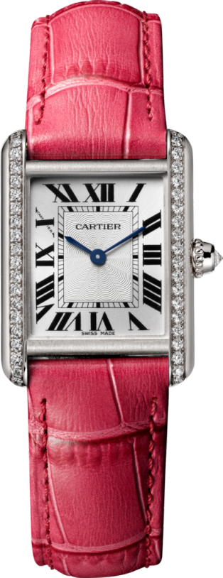 Tank Louis Cartier watch Small model, hand-wound mechanical movement, white gold, diamonds, leather