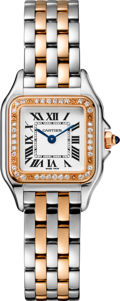 Panthère de Cartier watchSmall model, pink gold and steel, diamonds