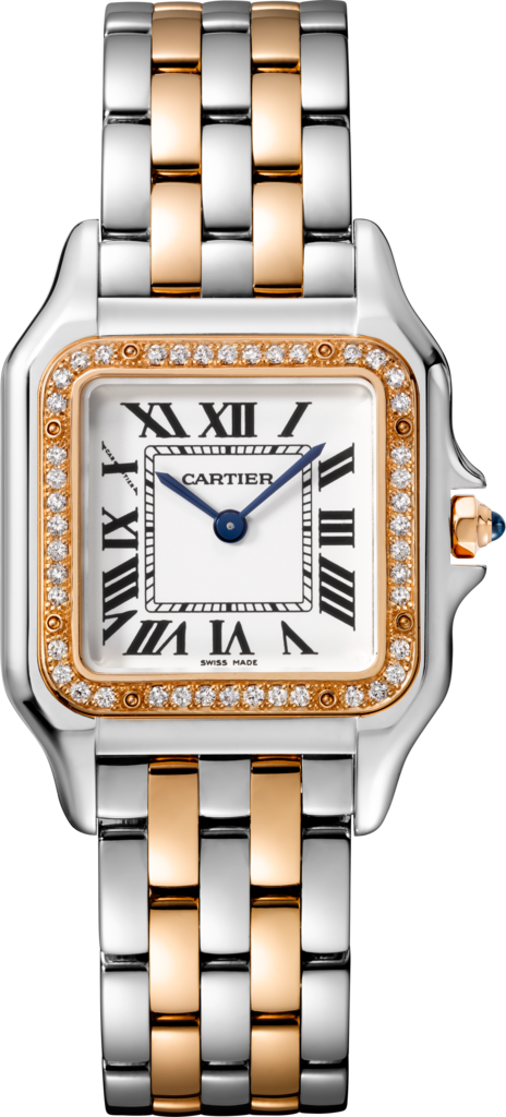Panthère de Cartier watchMedium model, pink gold and steel, diamonds