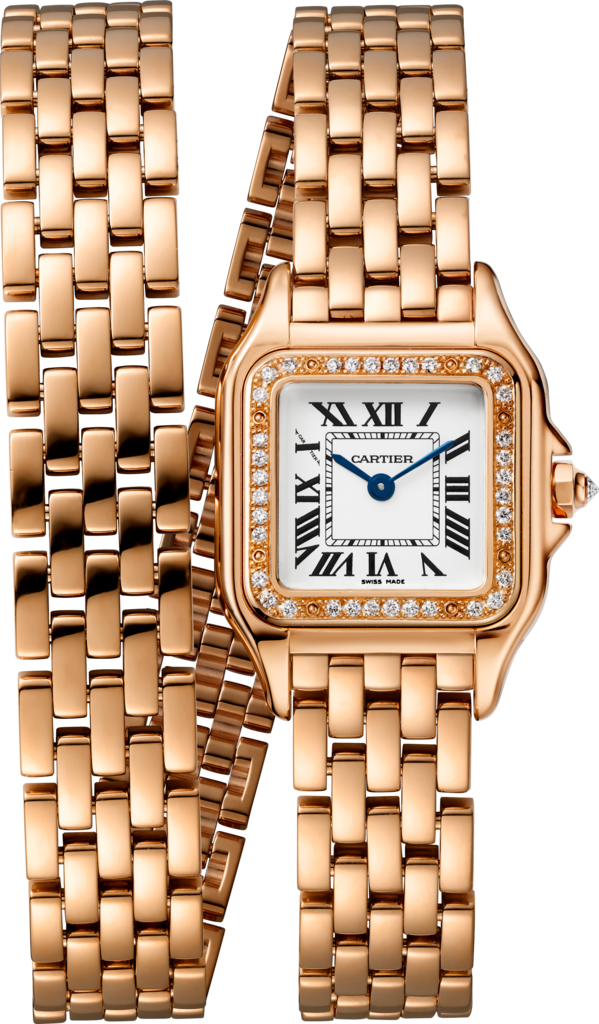 Panthère de Cartier watchSmall model, double loop, pink gold, diamonds