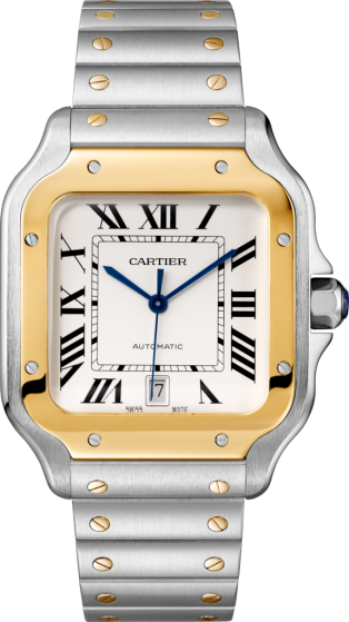 Santos de Cartier watch Large model, automatic movement, yellow gold, steel, interchangeable metal and leather bracelets