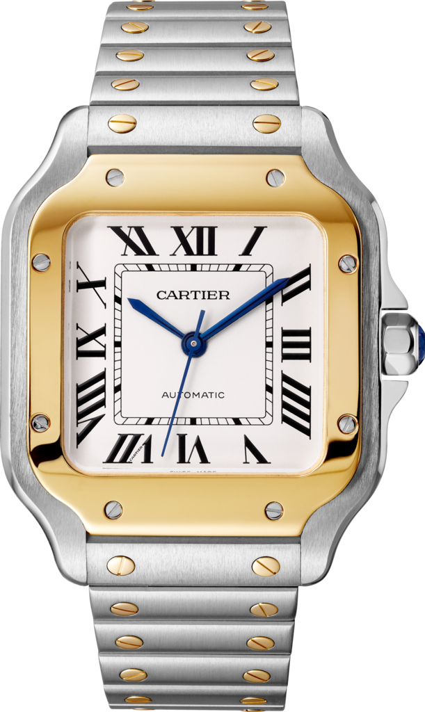 Santos de Cartier watchMedium model, automatic movement, yellow gold, steel, interchangeable metal and leather bracelets