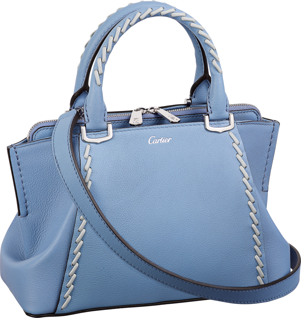 C de Cartier bag, mini modelAquamarine taurillon leather with gray thread, palladium finish