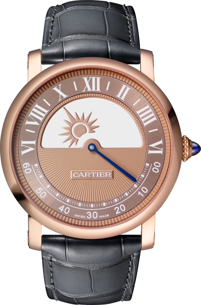 Rotonde de Cartier mysterious movement watch40 mm, manual, 18K pink gold, leather