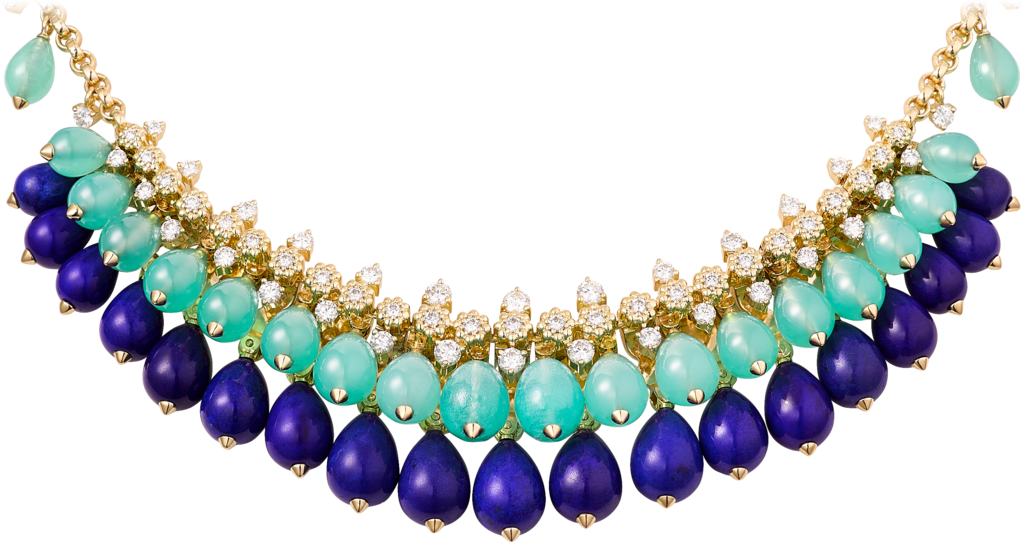 Cactus de Cartier necklaceYellow gold, chrysoprase, lapis lazuli, diamonds