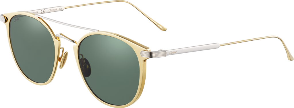 C de Cartier SunglassesMetal, golden finish, platinum-finish details, green polarized lenses.