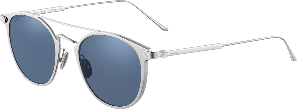 C de Cartier SunglassesMetal, gray PVD finish, palladium-finish details, dark blue lenses.