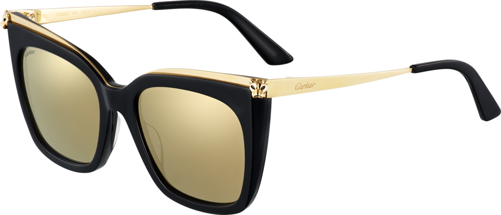 Panthère de Cartier sunglassesCombined black, smooth golden finish, lenses with white golden mirror effect.