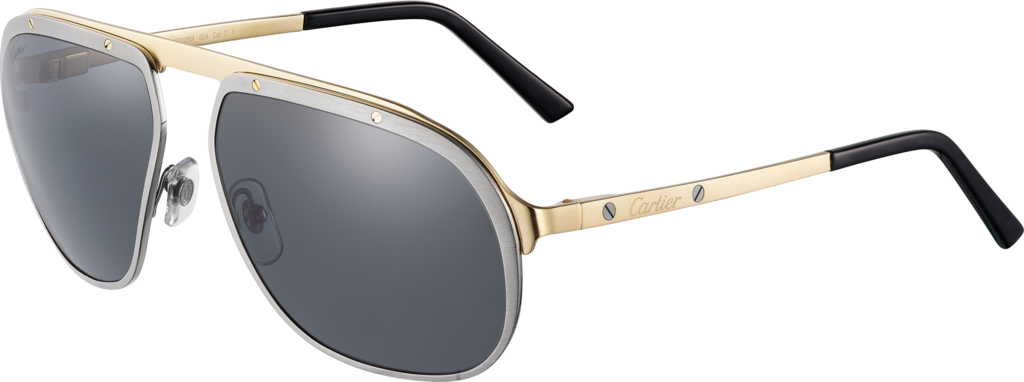 Santos de Cartier sunglassesBrushed ruthenium and champagne golden-finish metal, grey polarised lenses.