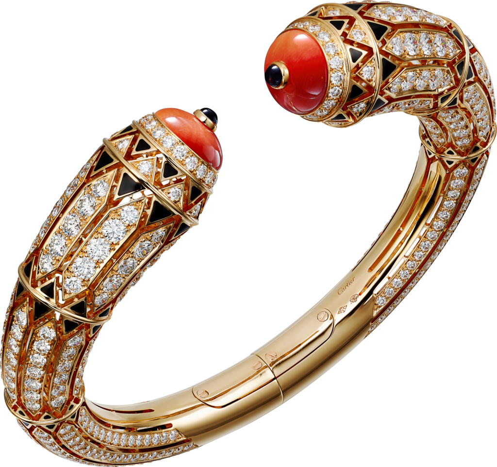 High Jewellery braceletRose gold, coral, onyx, black lacquer, diamonds