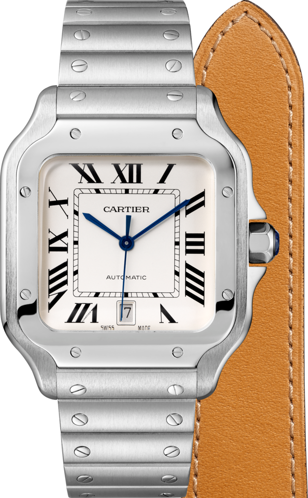 Santos de Cartier watchLarge model, automatic, steel, two interchangeable straps