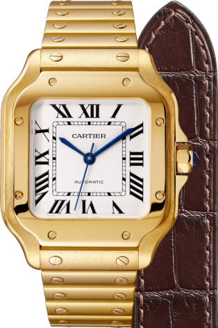 Santos de Cartier watch Medium model, automatic, yellow gold, interchangeable metal and leather bracelets