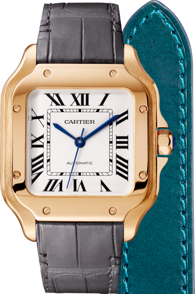 Santos de Cartier watchMedium model, automatic, pink gold, 2 interchangeable leather bracelets