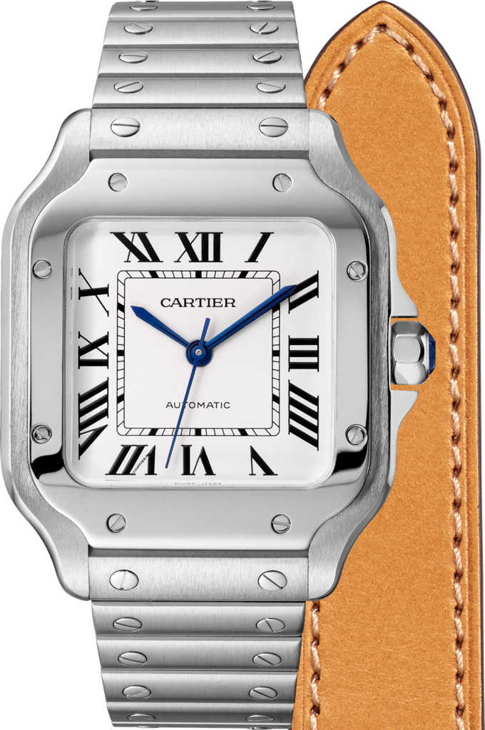 Santos de Cartier watchMedium model, automatic, steel, two interchangeable straps