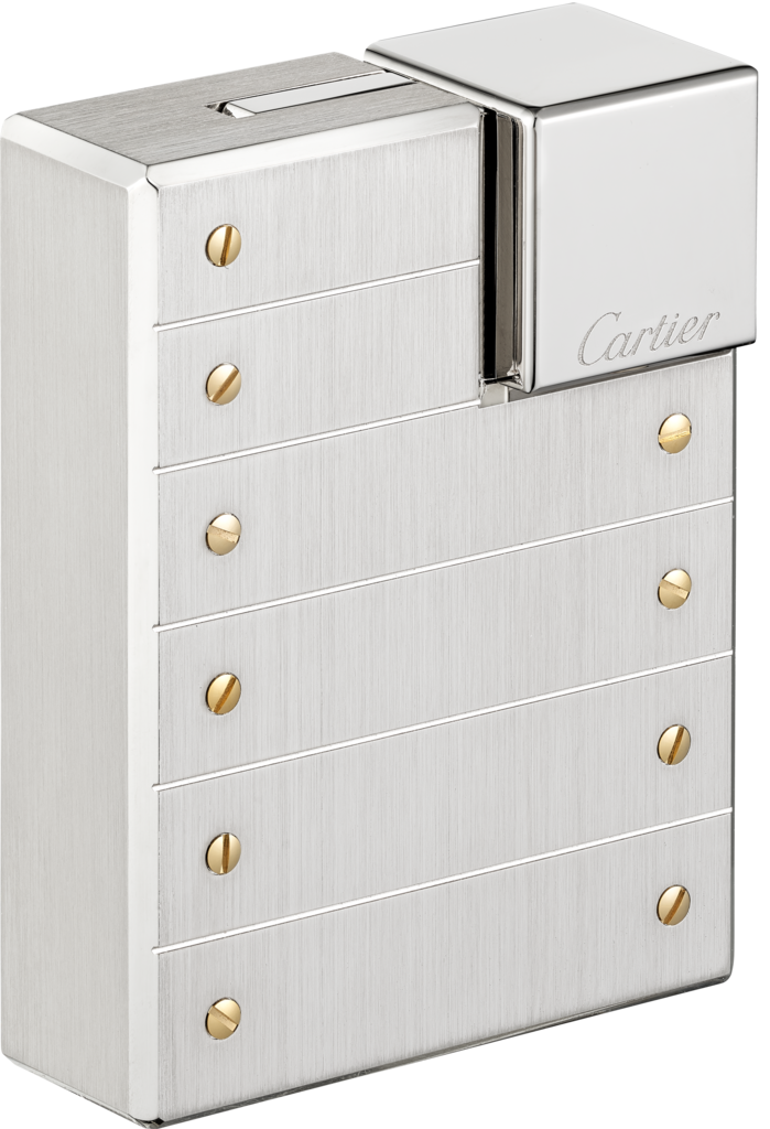 LighterBrushed palladium-finish metal with gold-finish screw décor.