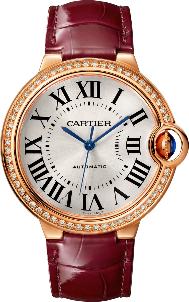 Ballon Bleu de Cartier watch36 mm, pink gold, diamonds, leather