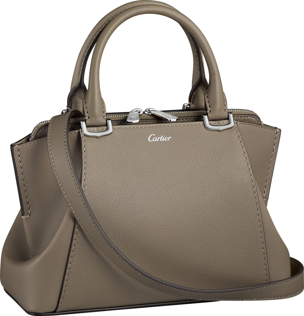 C de Cartier bag, mini modelHaematite taurillon leather, palladium finish