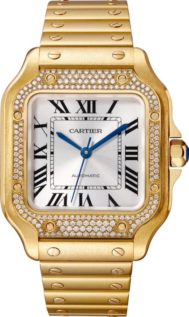 Santos de Cartier watchMedium model, automatic, yellow gold, diamonds, interchangeable metal and leather bracelets