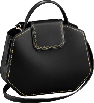 Top Handle Bag, Small, Guirlande de Cartier Black calfskin, golden finish