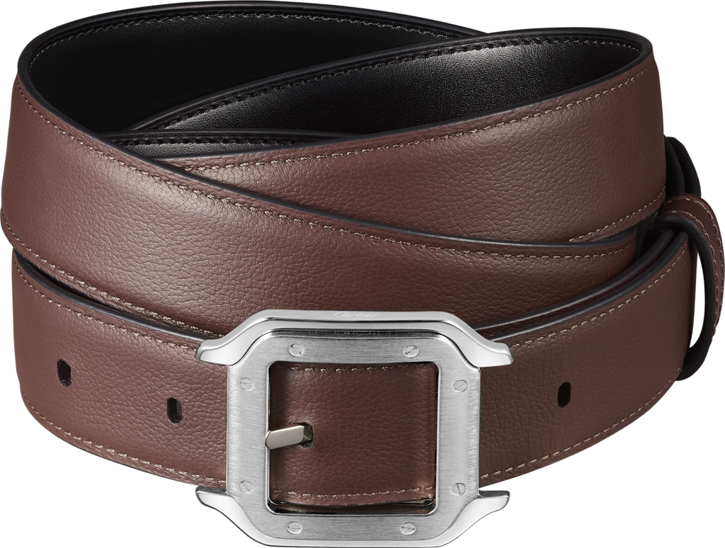 Santos de Cartier beltBlack cowhide, palladium-finish buckle