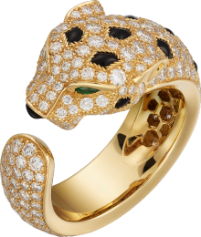 Panthère de Cartier ring Yellow gold, emeralds, onyx, diamonds