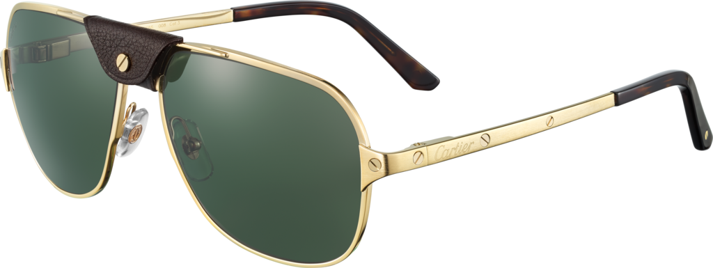 Santos de Cartier sunglassesSmooth champagne golden-finish metal, green polarized lenses