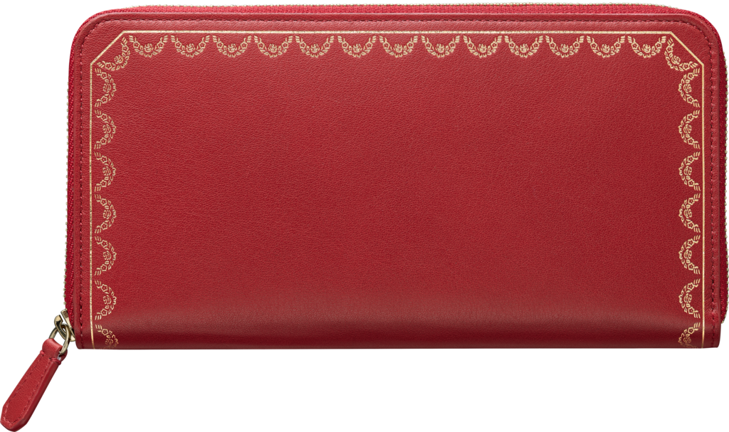 Guirlande de Cartier Small Leather Goods, international walletRed calfskin, golden finish