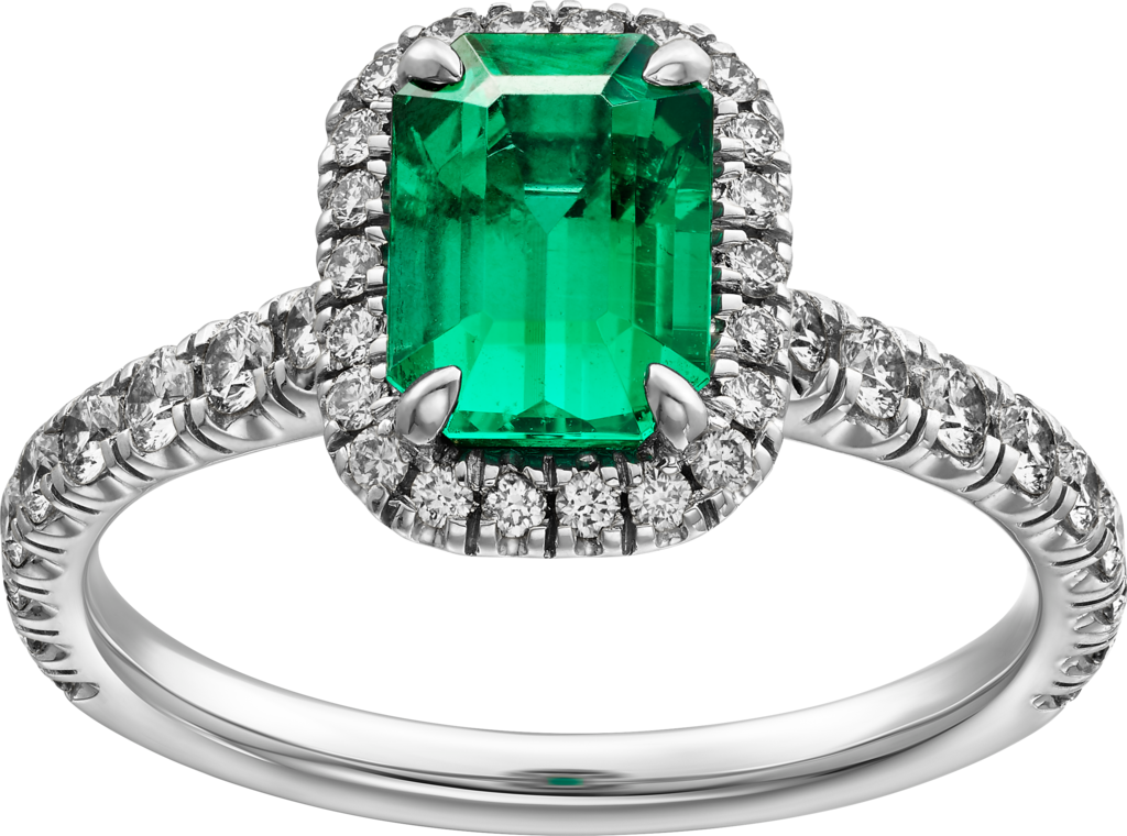 Cartier Destinée Solitaire with colored stonePlatinum, emerald, diamonds