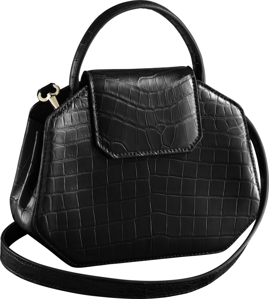 Guirlande de Cartier bag, mini modelBlack niloticus crocodile skin, gold finish