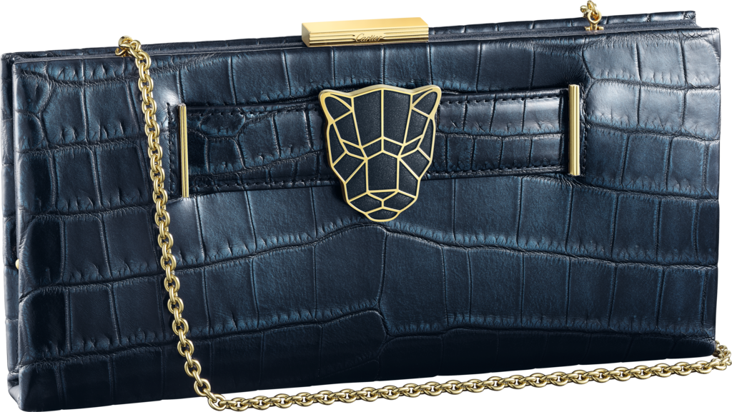 Panthère de Cartier clutch bagIridescent blue crocodile leather, gold finish