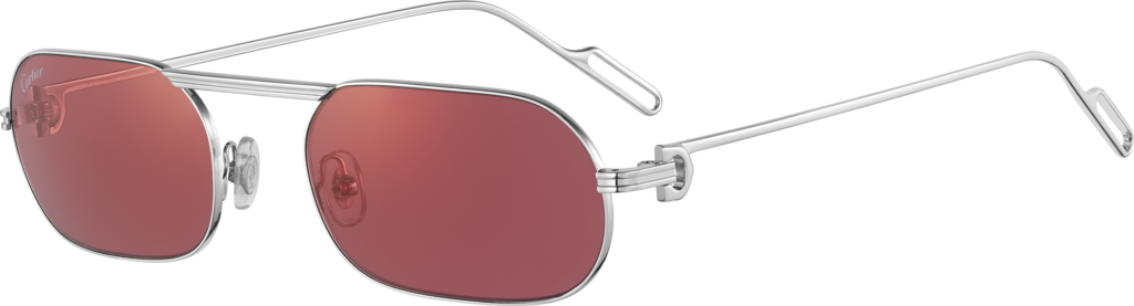 Première de Cartier sunglassesSmooth platinum-finish metal, burgundy lenses with golden flash