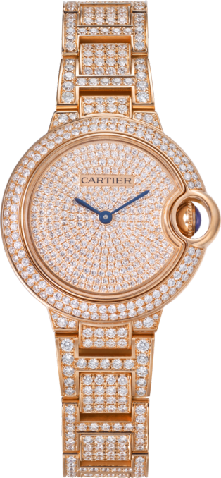 Ballon Bleu de Cartier watch 33mm, automatic movement, pink gold, diamonds