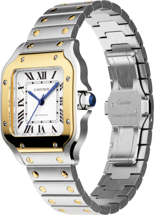 Santos de Cartier watch Medium model, automatic movement, yellow gold, steel, interchangeable metal and leather bracelets