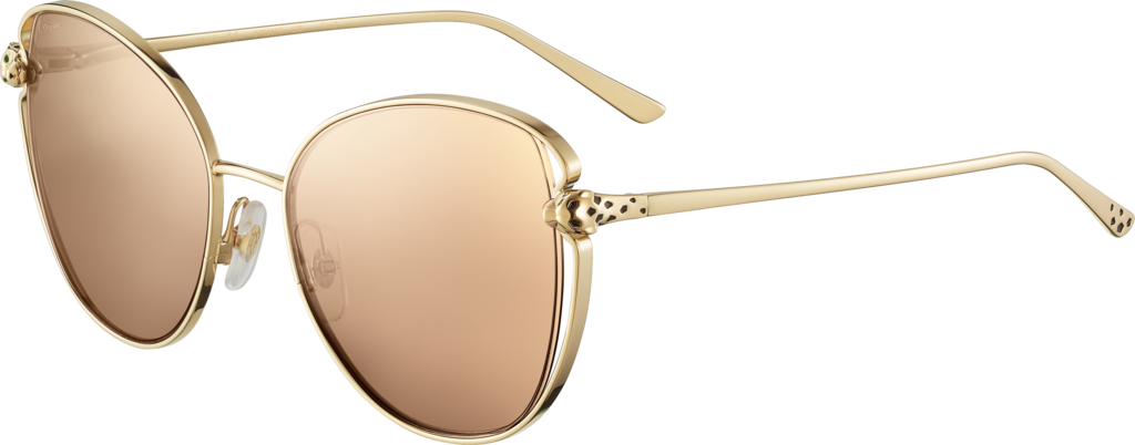 Panthère de Cartier sunglassesSmooth golden-finish metal, pink lenses with golden flash