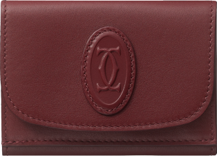 Trifold Wallet, Must de Cartier Burgundy calfskin, golden finish